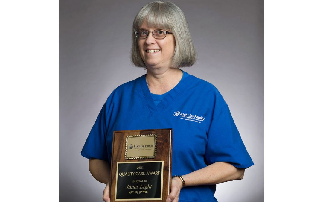 Janet Light awarded with 2018 'Quality Care' Award