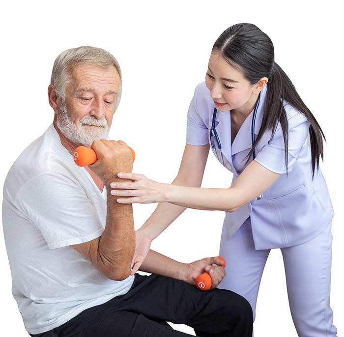 Health worker helping older man